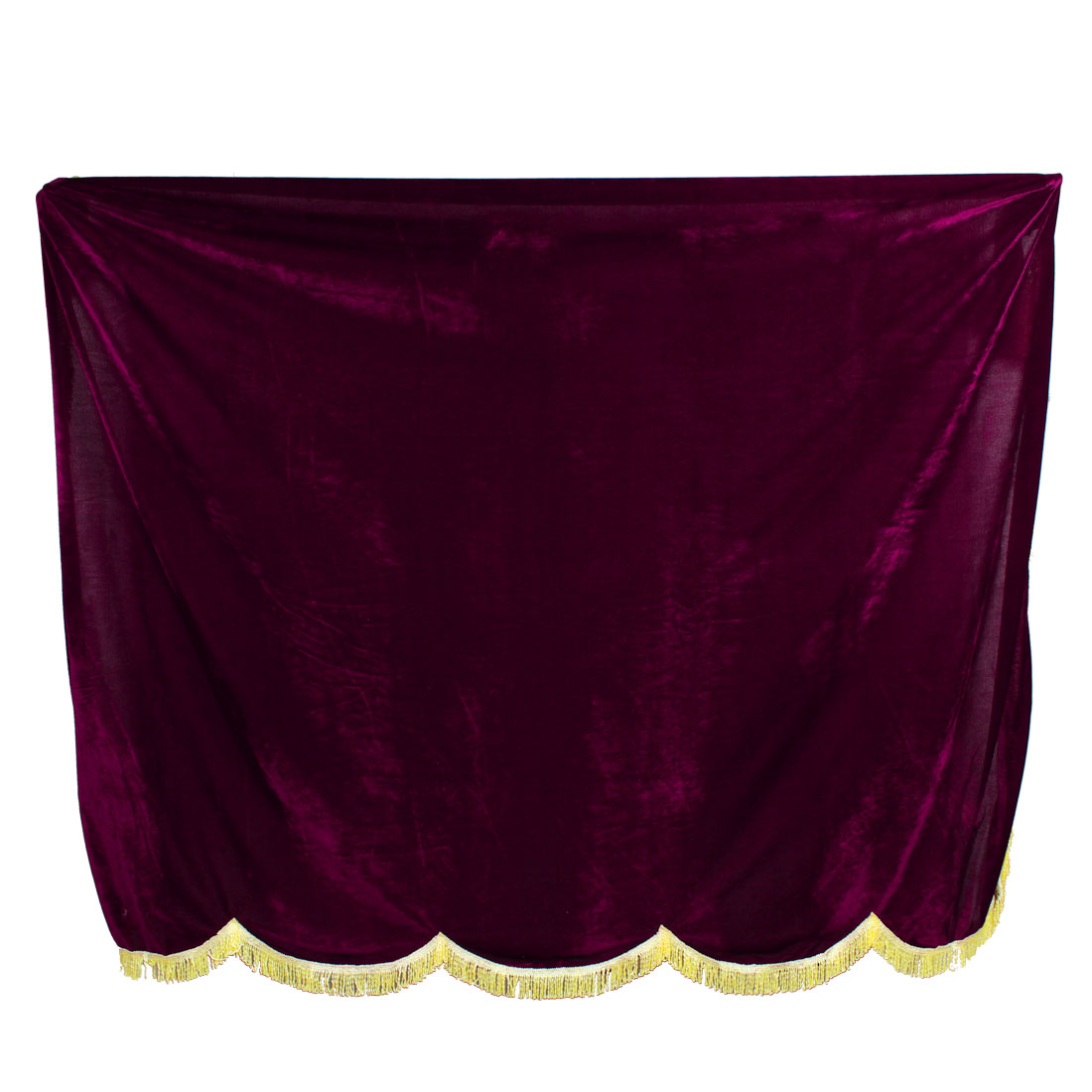 Tassels Trim Velet Overlay Piano Full Cover Dark Burgundy 1.53mx1.48m