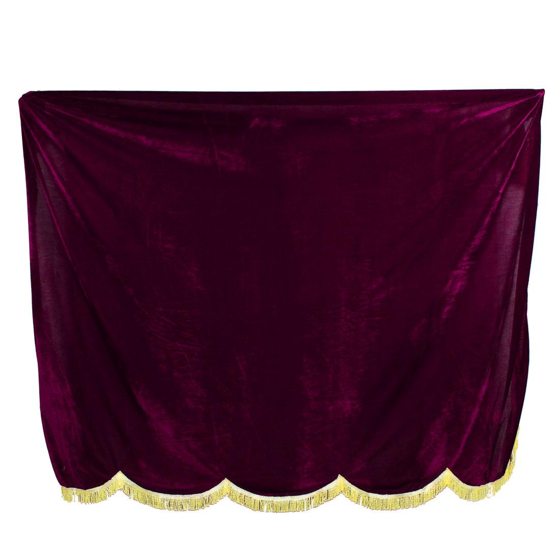Tassels Trim Velet Overlay Piano Full Cover Dark Burgundy 1.53mx1.48m