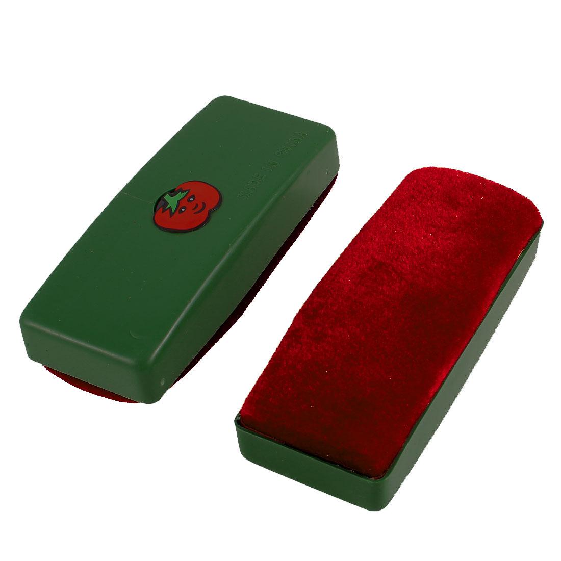 Green Dark Red Cartoon Tomato Print Magnetic Blackboard Eraser Wipe Cleaner 2 Pcs