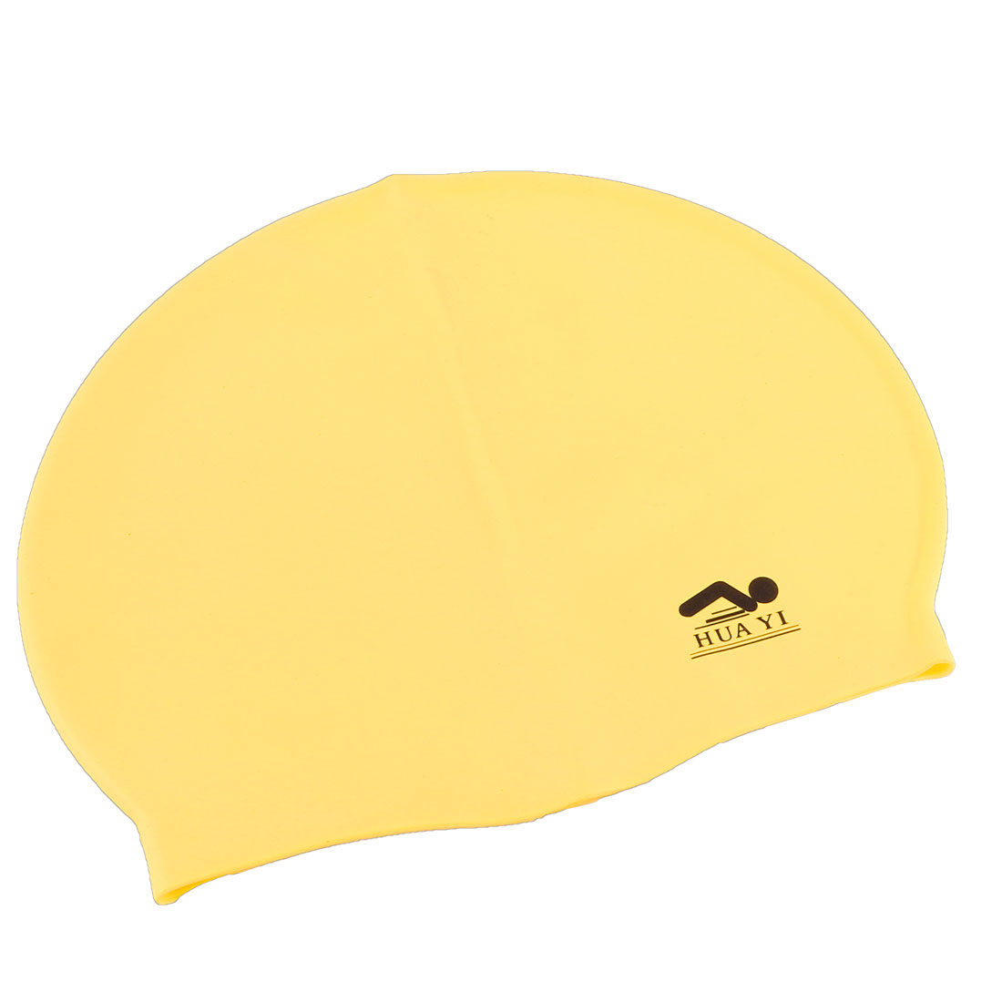 Adults Yellow Nonslip Dots Inner Silicone Swimming Swim Cap Hat