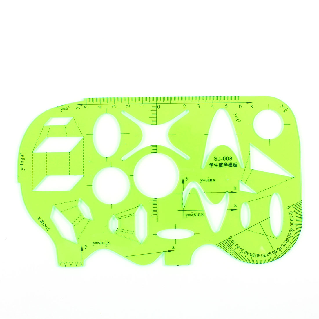 Clear Green Plastic Geometry Drawing Math Template Ruler Protractor Measuring Tool