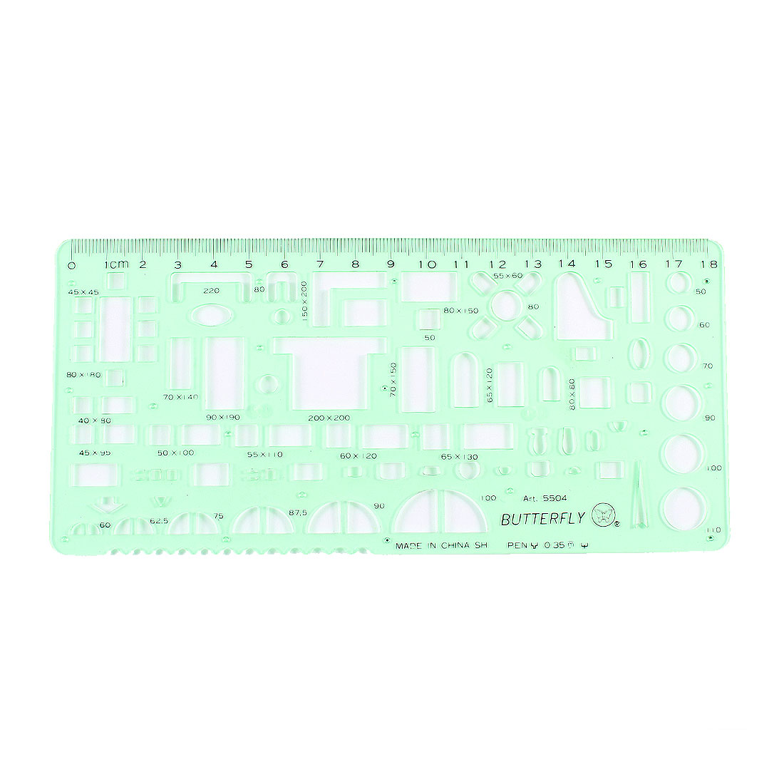 Clear Green Plastic Geometric Drawing Upholstery Template Ruler 0-18cm