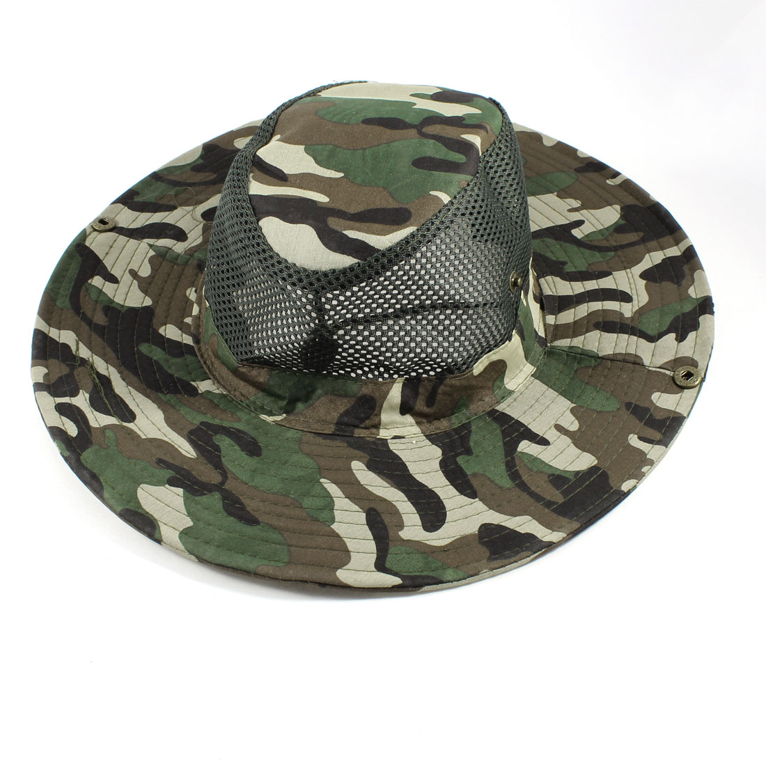 Neck Strap Dark Brown Green Beige Camouflage Pattern Wide Brim Fishing Hat Cap