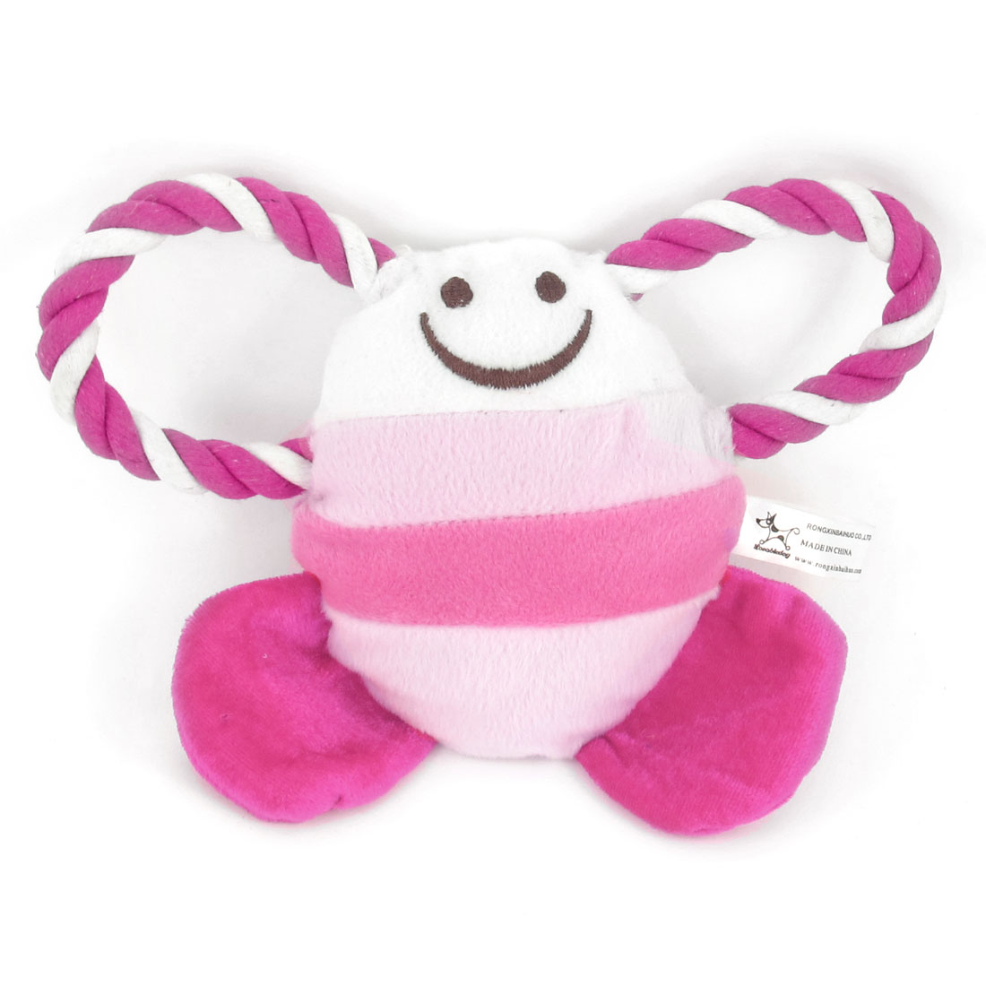"8.5"" Long Pet Twisted Tug Rope Tropical Fish Design Squeeze Squeak Doll Toy Pink"