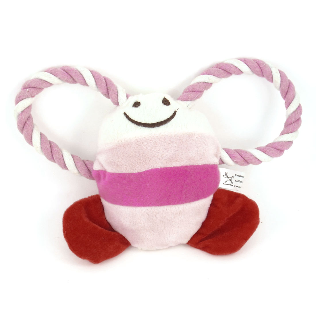 Pink Plush Twisted Tug Rope Tropical Fish Design Squeeze Squeak Toy for Pet Dog