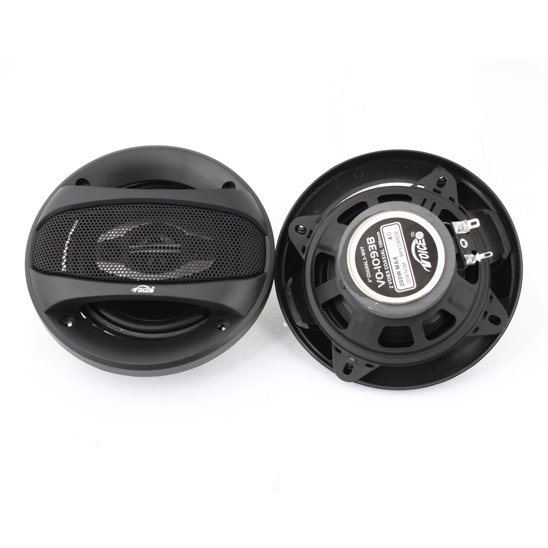 2 Pcs Black Stereo Audio System Speakers 200W for Car Auto