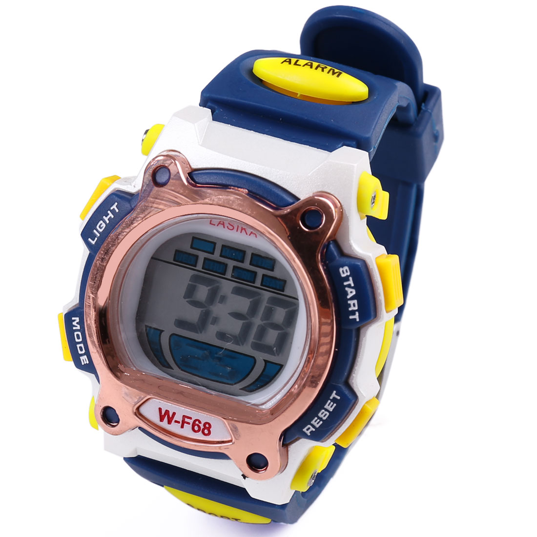 Blue Yellow Plastic Adjustable Band Water Resistant LCD Digital Alarm Electronic Sports Watch