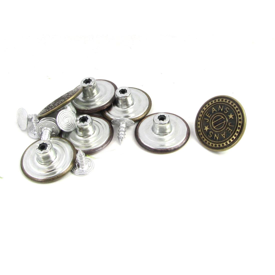 7 Pcs Bronze Tone Letter Pattern Metallic Tack Buttons Rivet for Jeans