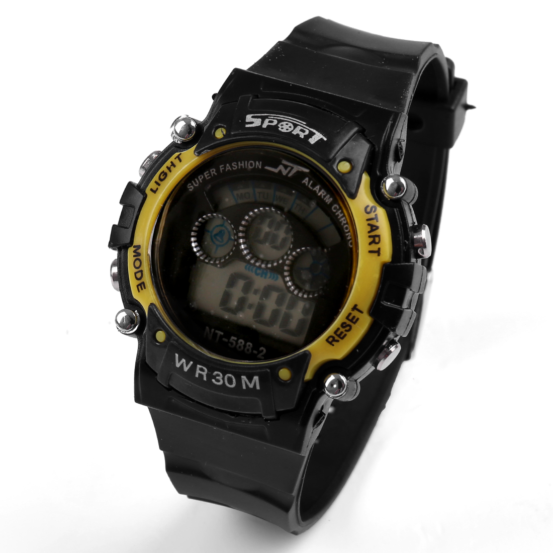 Black Yellow Plastic Adjustable Band Water Resistant LCD Digital Alarm Sports Watch