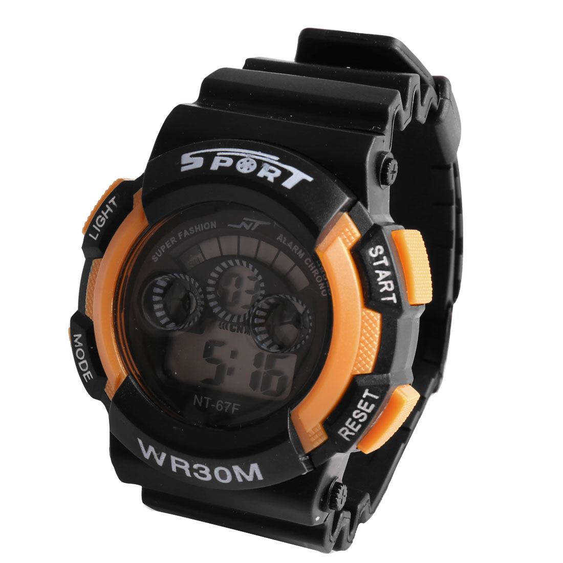 Black Yellow Plastic Adjustable Wristband Water Resistent Digital Sports Watch