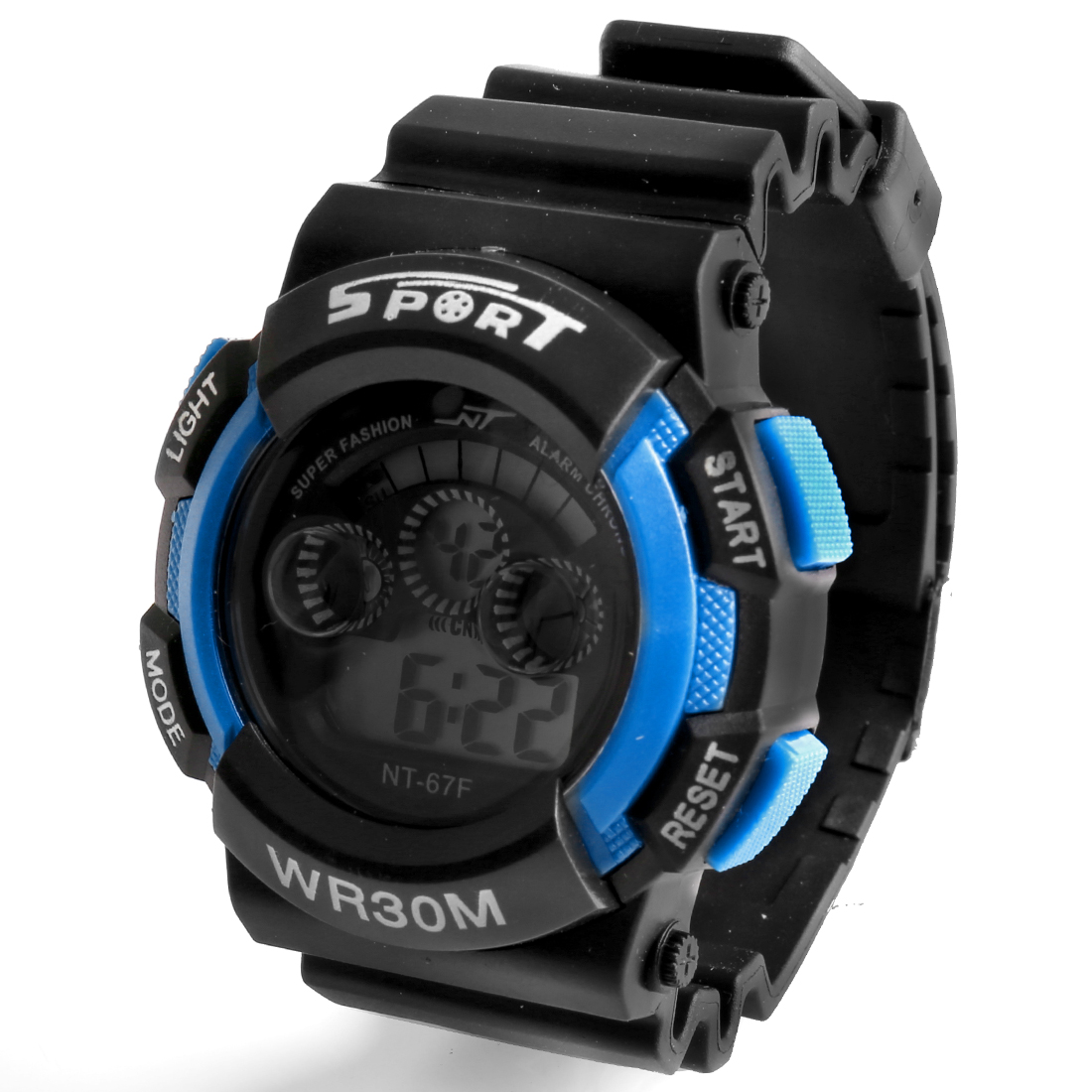 Men Adjustable Watchband Round Case Alarm Stopwatch Sports Wrist Watch Blue Black