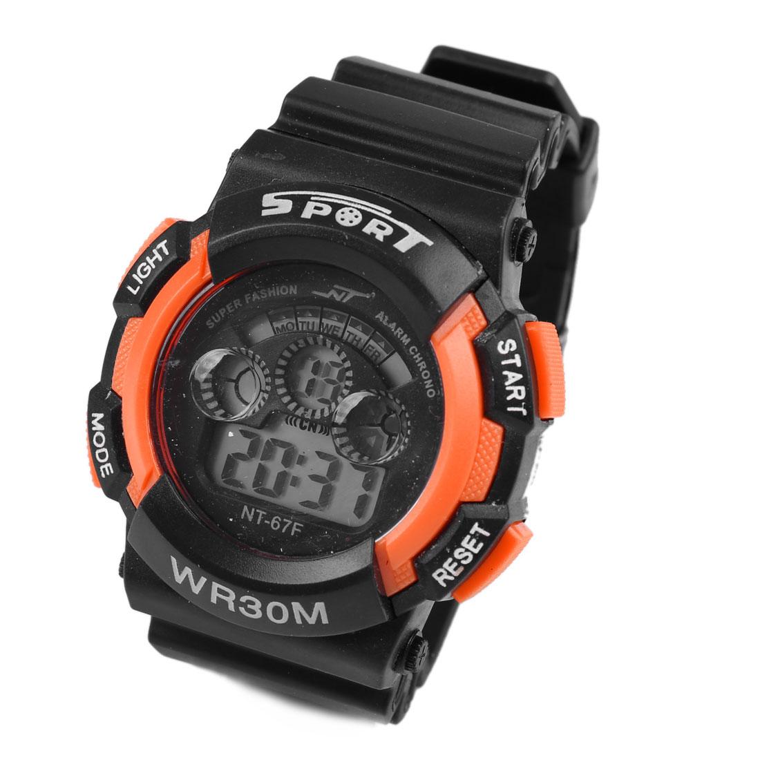 Adjustable Wristband Dark Orange Case Second Date Week Display Water Resistant Sports Watch