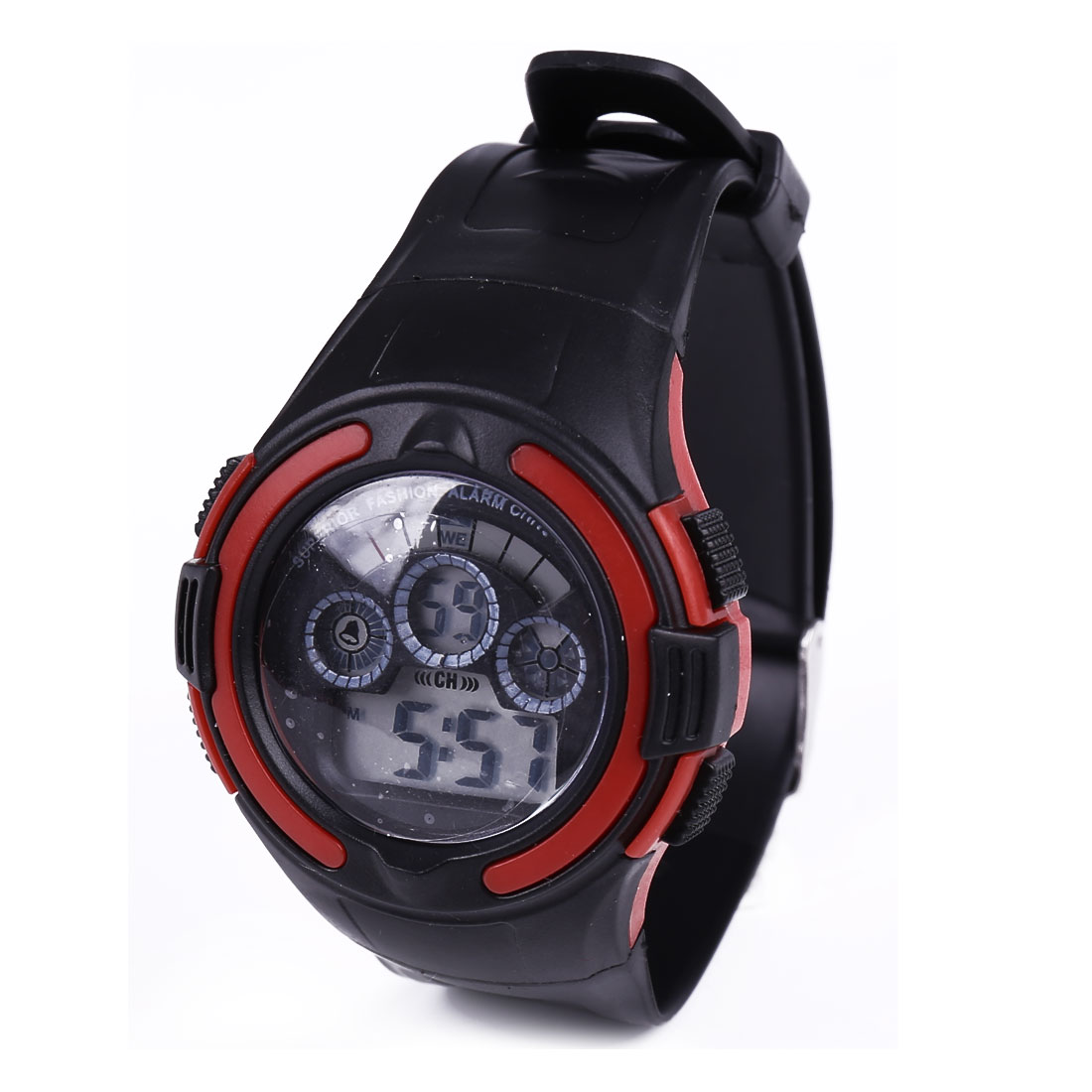 Black Plastic Adjustable Band Water Resistant LCD Digital Alarm Sports Wrist Watch