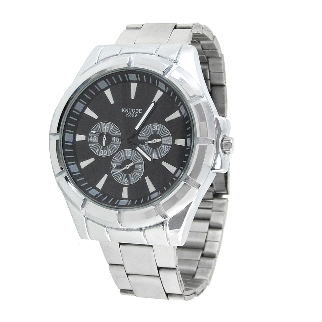 Men Silver Tone Metal Watchband Round Dial Quartz Watch Gift