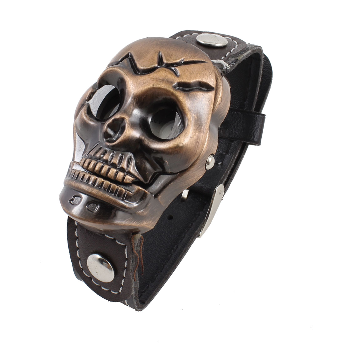 Woman Black Faux Leather Band Bronze Tone Skull Shape Dial Watch