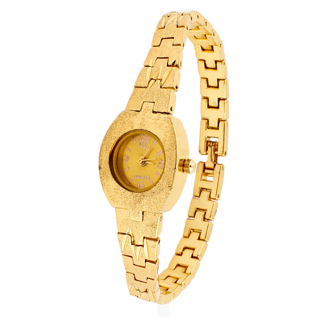 Woman Gold Tone Round Dial Metal Band Wrist Watch