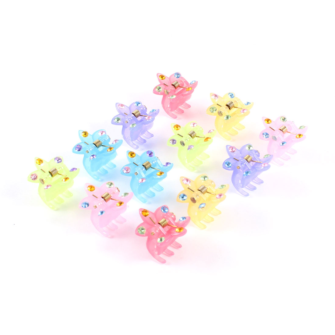 12 Pcs Assorted Color Faux Rhinestone Decor Butterfly Barrette Claw Hair Clip