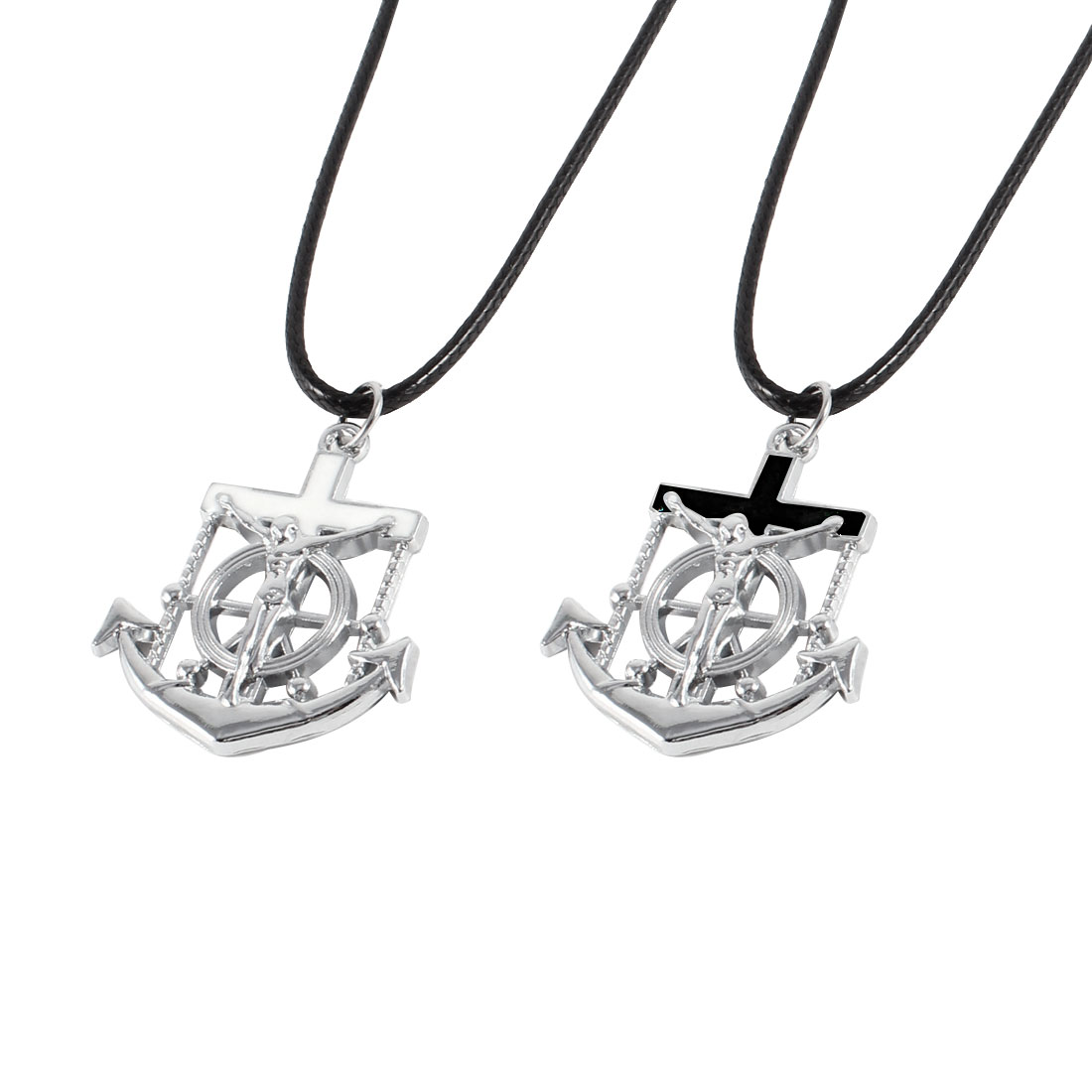 Couples Black White Cross Decor Anchor Pendant Necklace