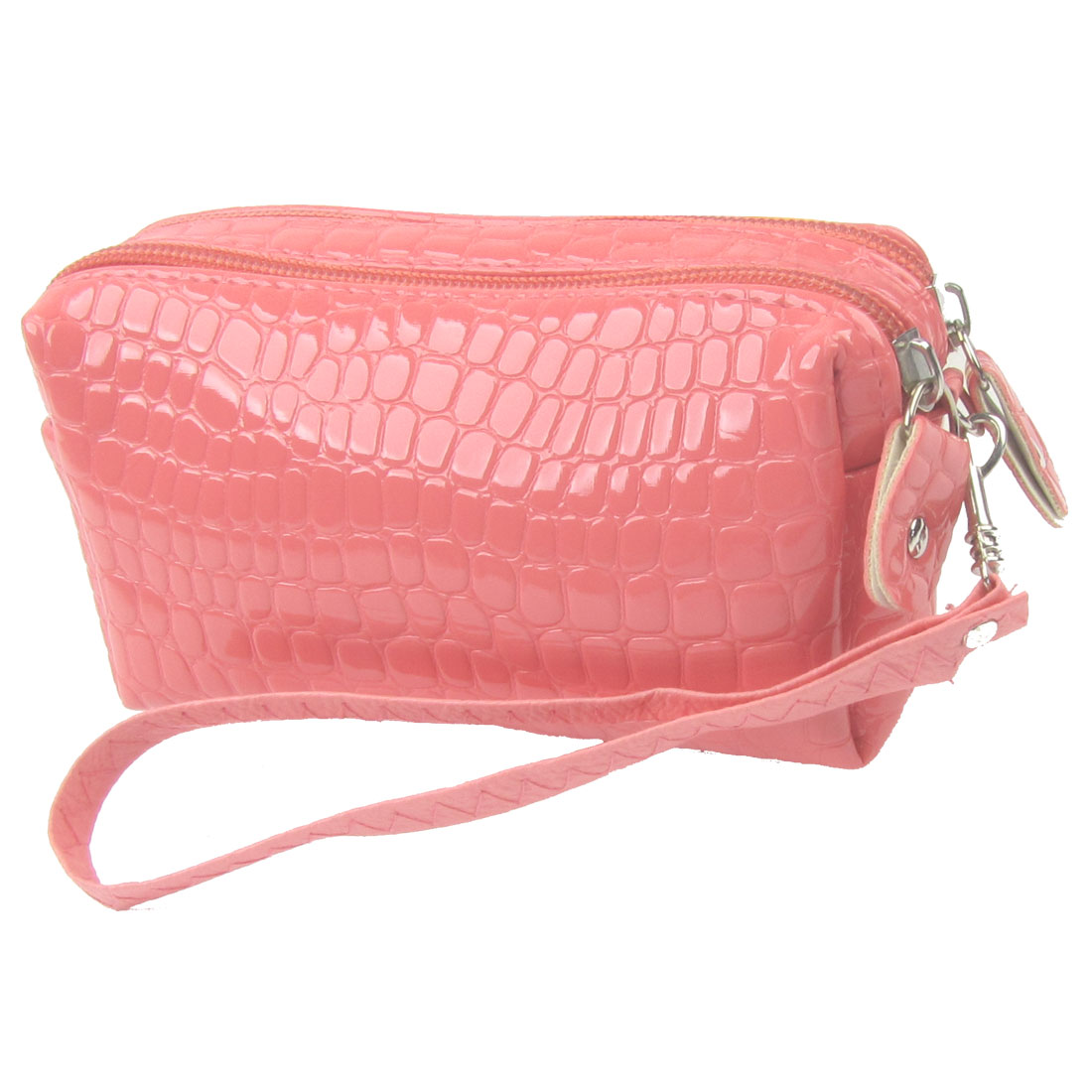 Lady Salmon Pink Faux Leather Crocodile Pattern Zip up Closure Wallet Purse