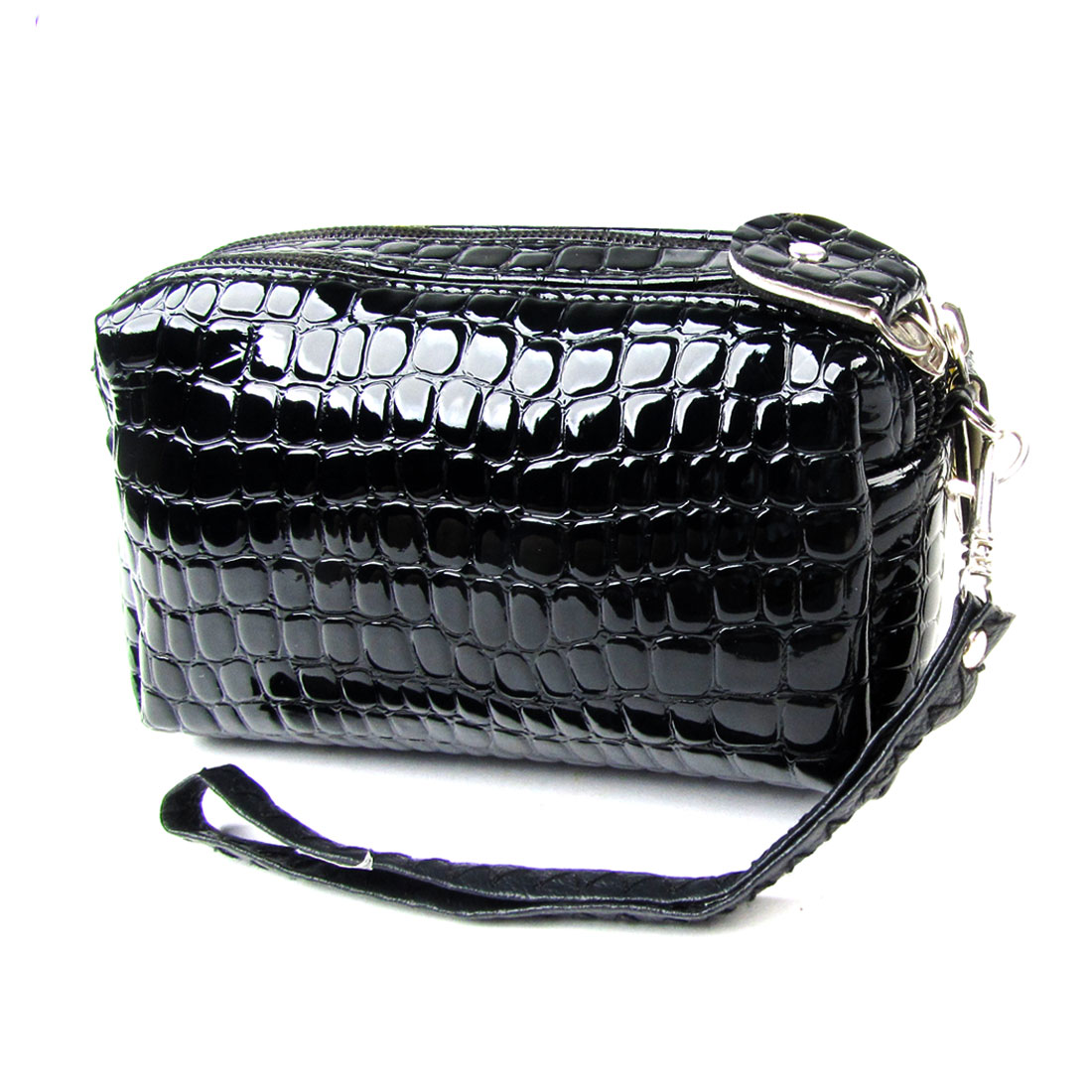 Women Black Crocodile Pattern Double Zipper Closure Wallet Purse w Strap