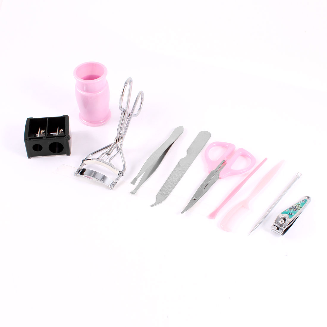 9 in 1 Nail File Eyebrow Scissors Eye Lash Curler Beauty Tools Set Pink