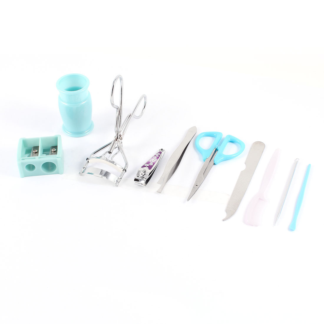 9 in 1 Nail File Eyebrow Scissors Eye Lash Curler Beauty Tools Set Blue