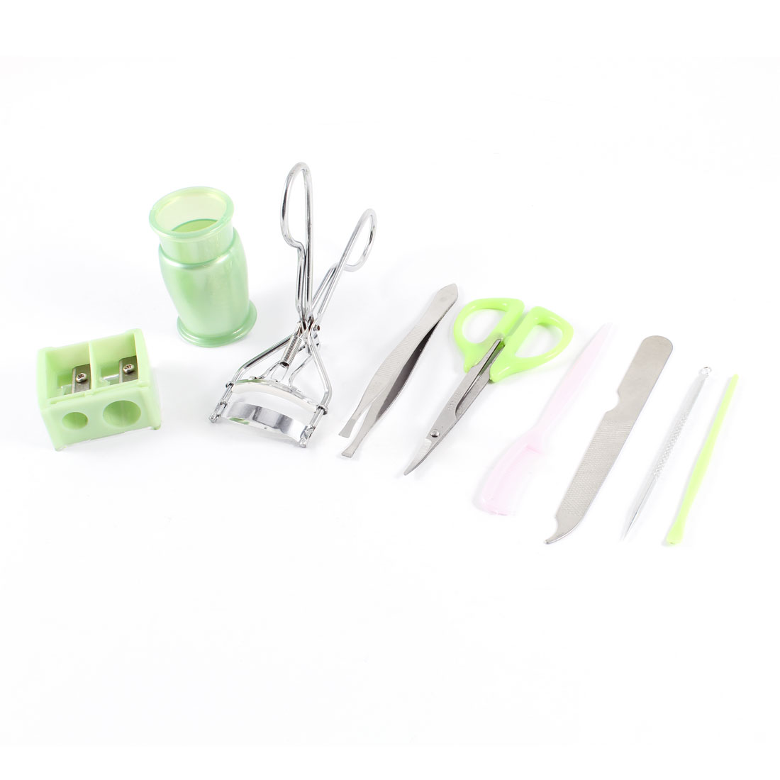 Cosmetic Tool 9 in 1 Green Handle Eyebrow Scissors Pencil Sharpener Earpick Set