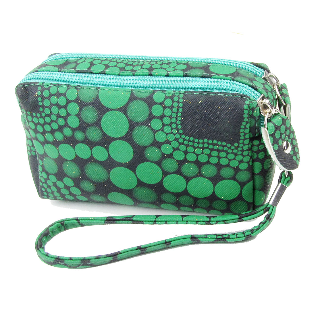 Woman Green Dot Print Double Zipper Closure Handbag Purse Black w Strap