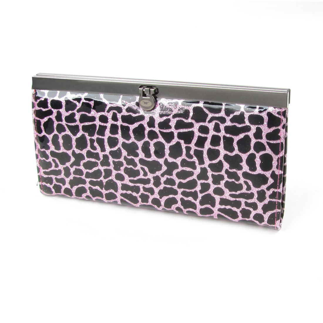 Women Pink Powder Decor Crocodile Pattern Wallet Purse Black