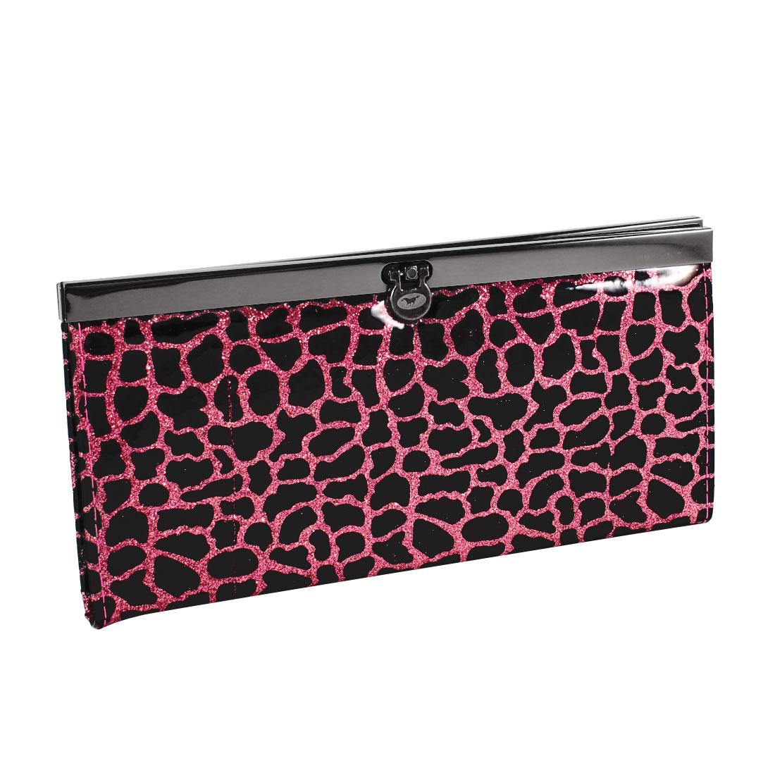 Lady Black Crocodile Pattern Flip Lock Powder Decor Wallet Purse Red