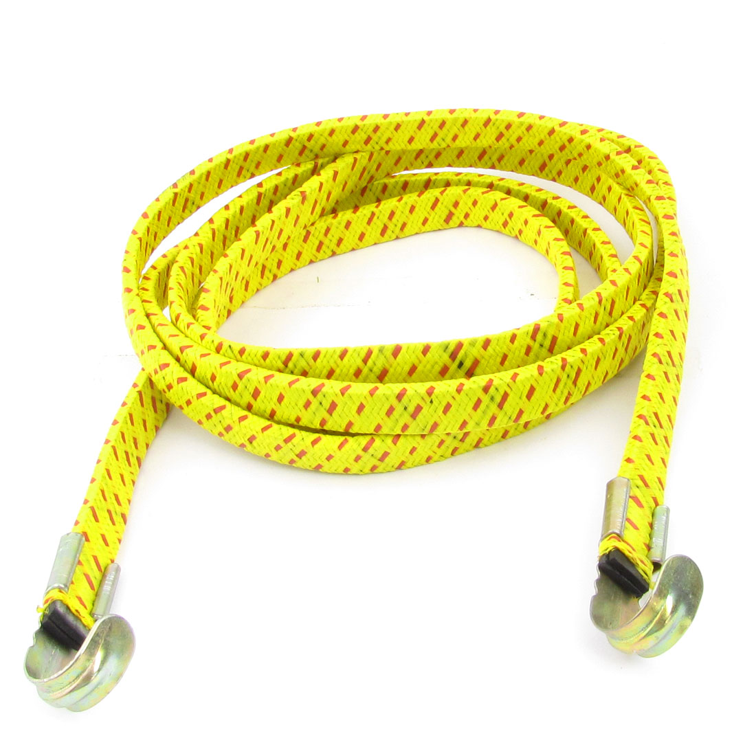 Yellow Red 2M Bicycle Bike 2 Hooks Striped Flat Stretch Luggage Rope Cord