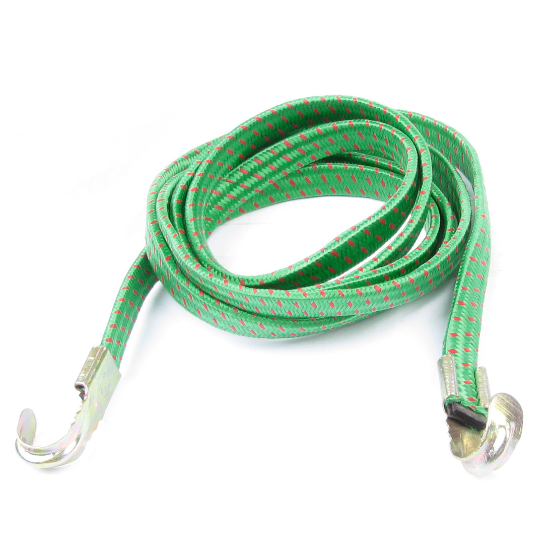 Green Red 2M Bicycle Bike 2 Hooks Striped Flat Stretch Luggage Rope Cord