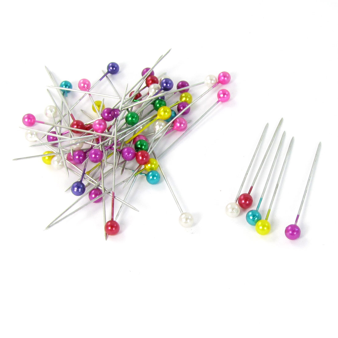 55 Pcs Assorted Color Round Imitation Pearl Sewing Corsage Needle Ball Head Pins