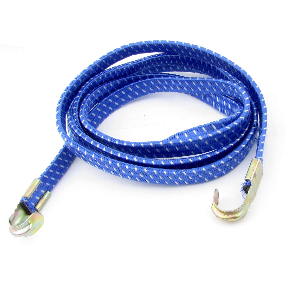 Blue White 2M Bicycle Bike 2 Hooks Striped Flat Stretch Luggage Rope Cord