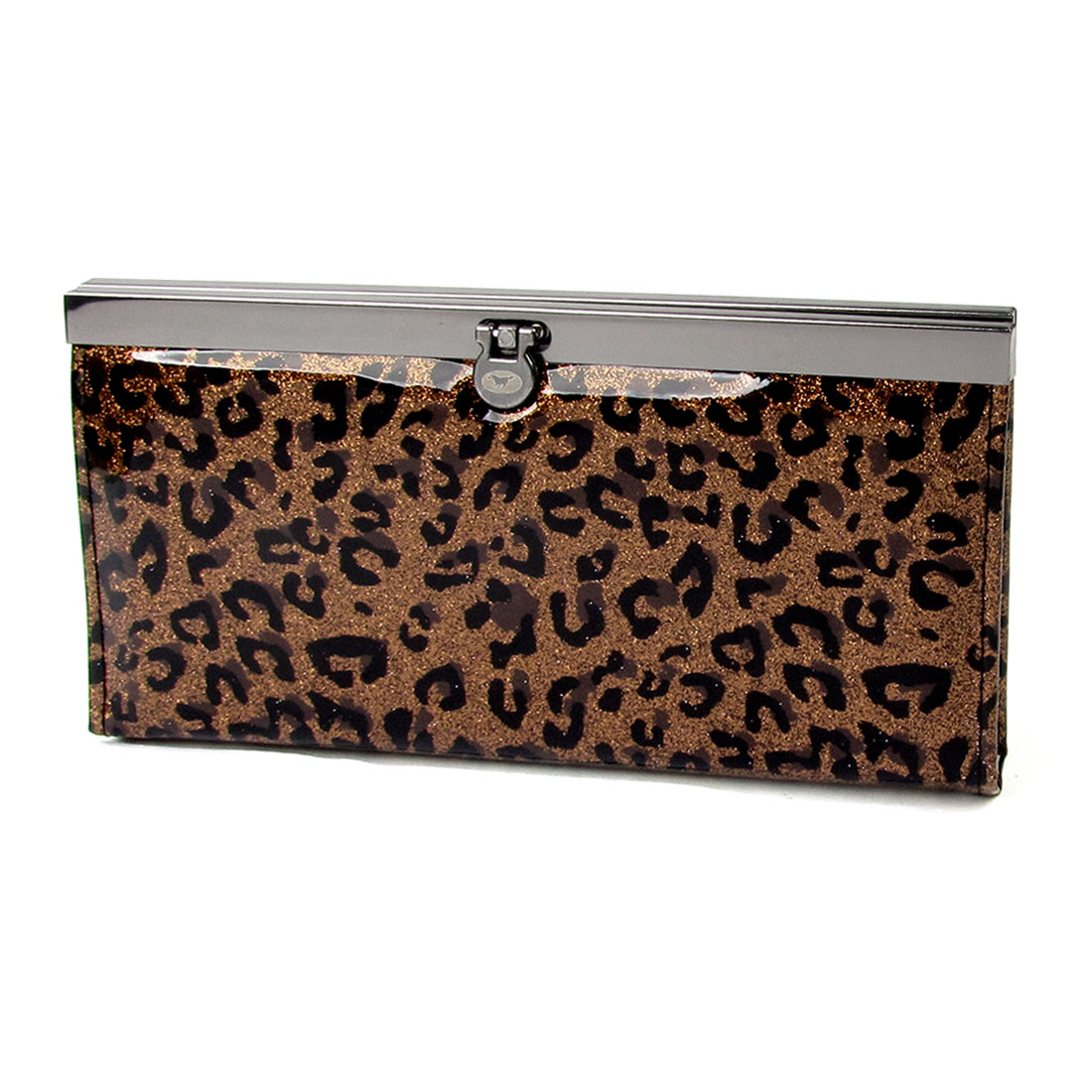 Women Black Leopard Pattern Flip Lock Closure Powder Decor Wallet Brown
