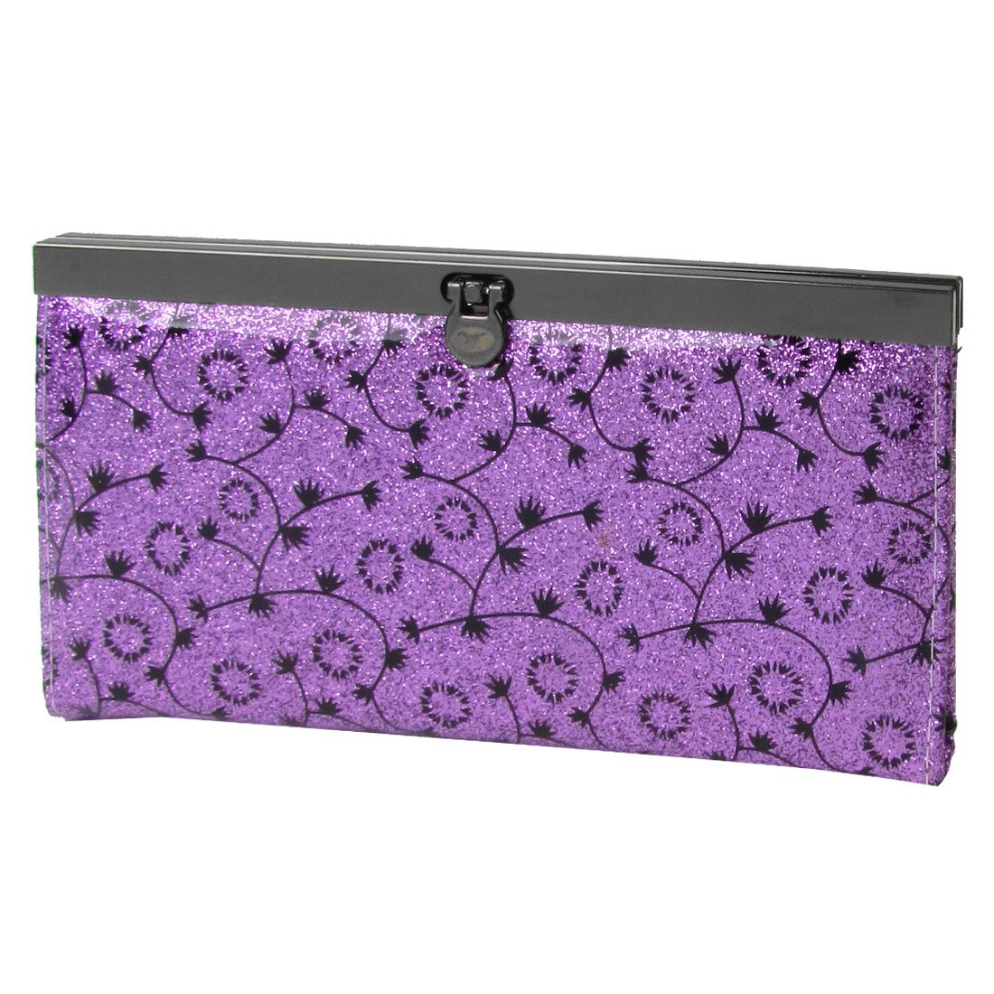 Lady Black Flower Print Flip Lock Powder Decor Wallet Purse Holder Purple