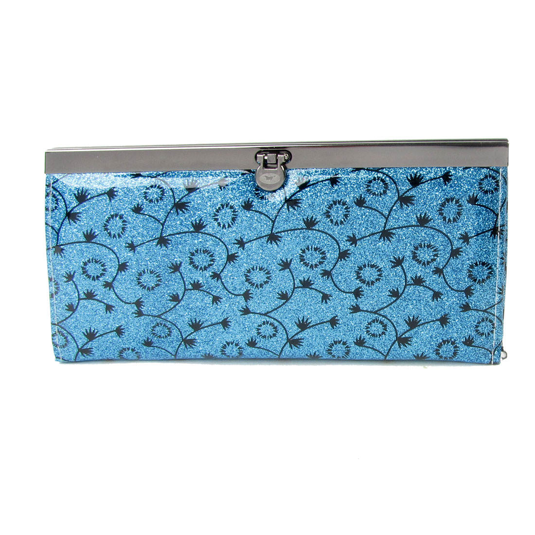 Lady Black Flower Print Flip Lock Powder Decor Wallet Purse Holder Blue