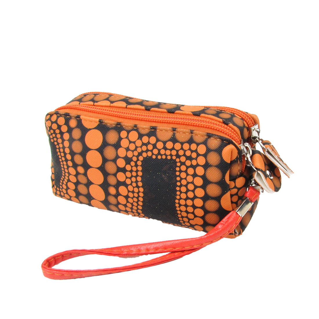 Women Orange Dot Print Powder Decor Zip up Closure Wallet Holder Black