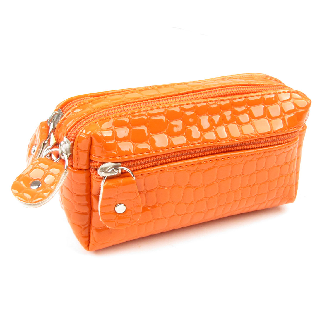 Women Orange Crocodile Pattern Double Zipper Closure Wallet Purse w Strap
