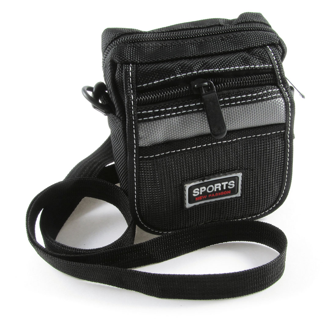 Man Black Gray Nylon 3 Pockets Adjustable Strap Waist Bag Pouch