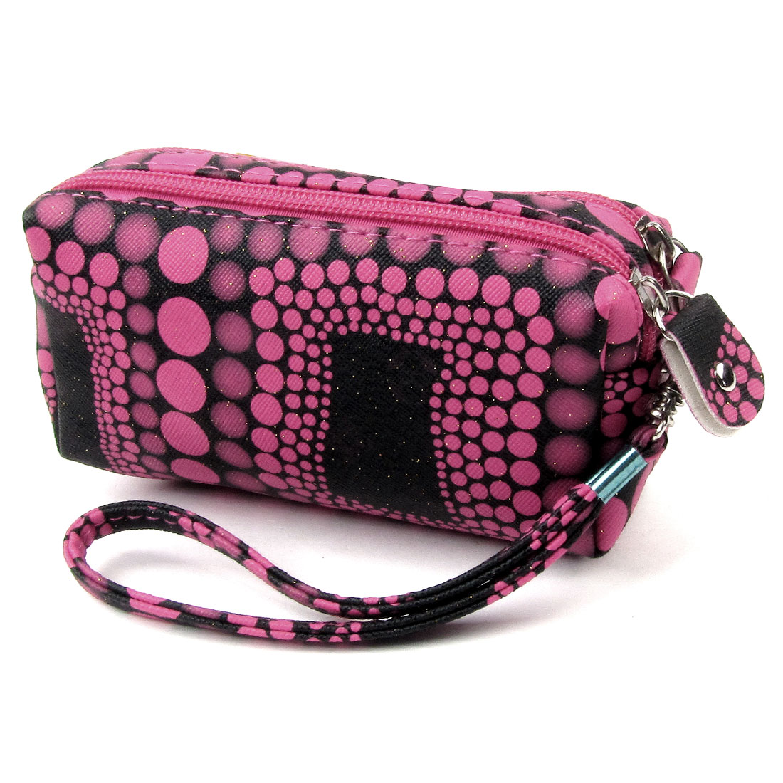Women Black Rose Pink Nylon Double Zipper Powder Wallet Purse for Coin ID Card