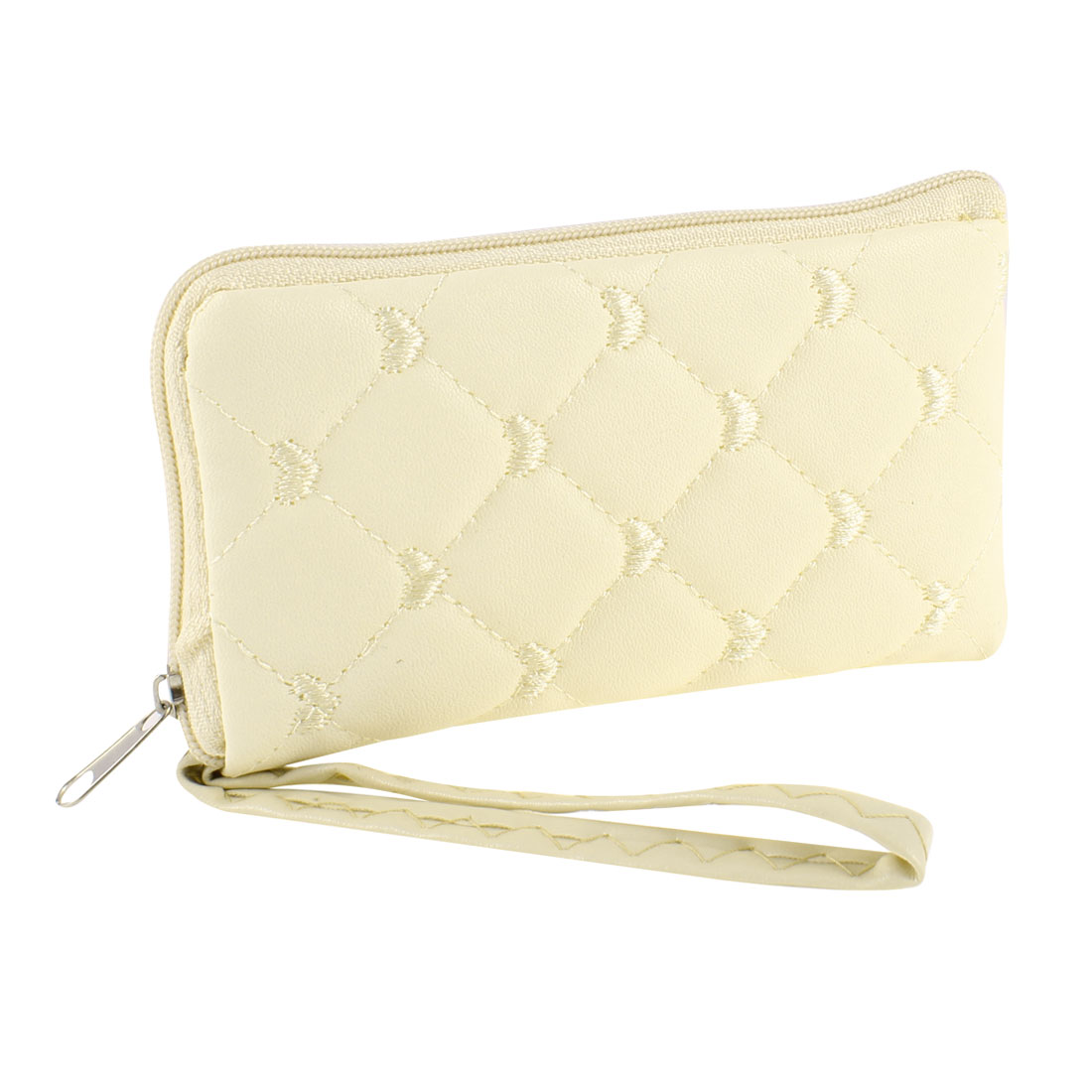 Ladies Embroidered Heart Pattern Zip up Faux Leather Cellphone Cards Holder Purse Ivory
