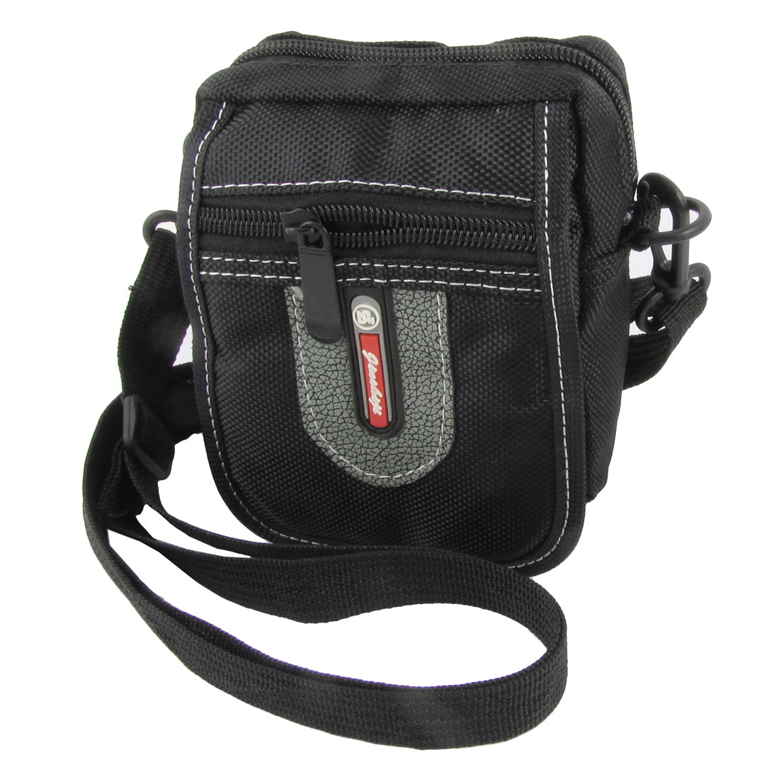 Man Black Gray Faux Leather Decor 3 Pockets Adjustable Strap Waist Bag