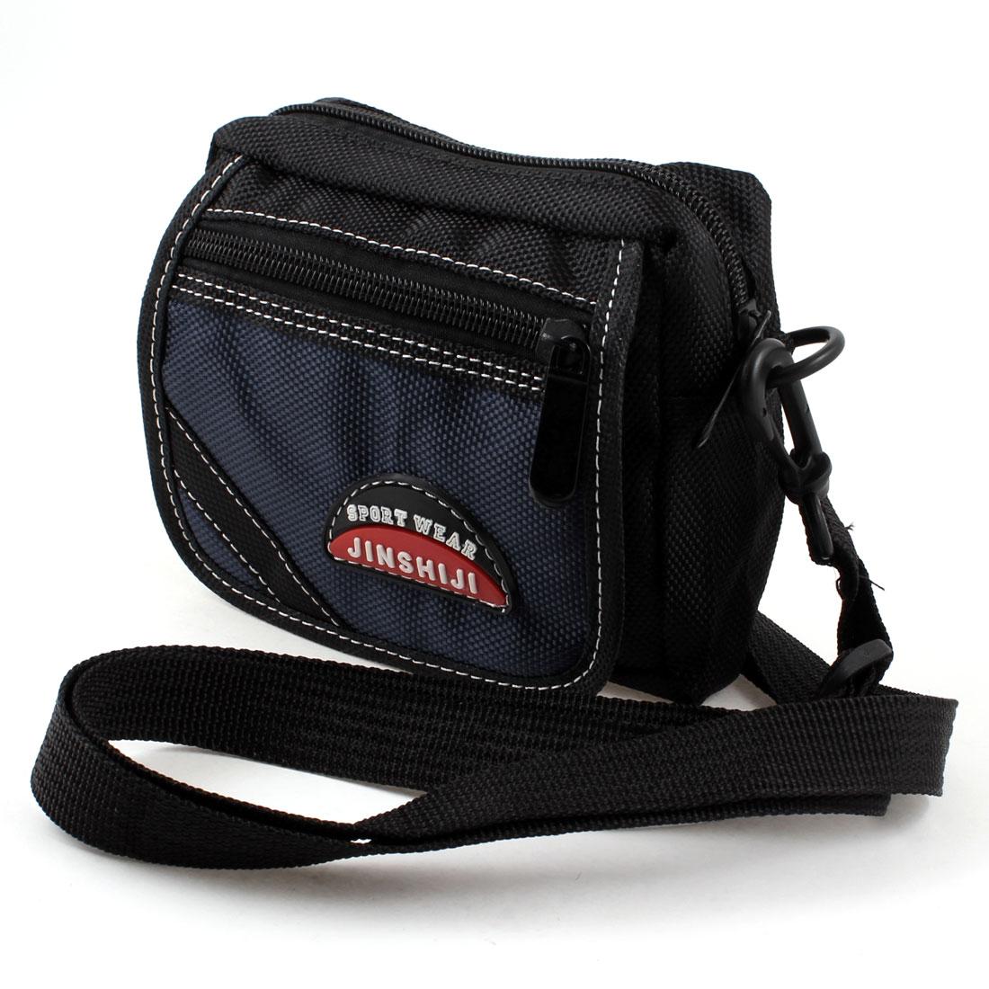 Man Black Blue Nylon 3 Pockets Adjustable Strap Waist Bag