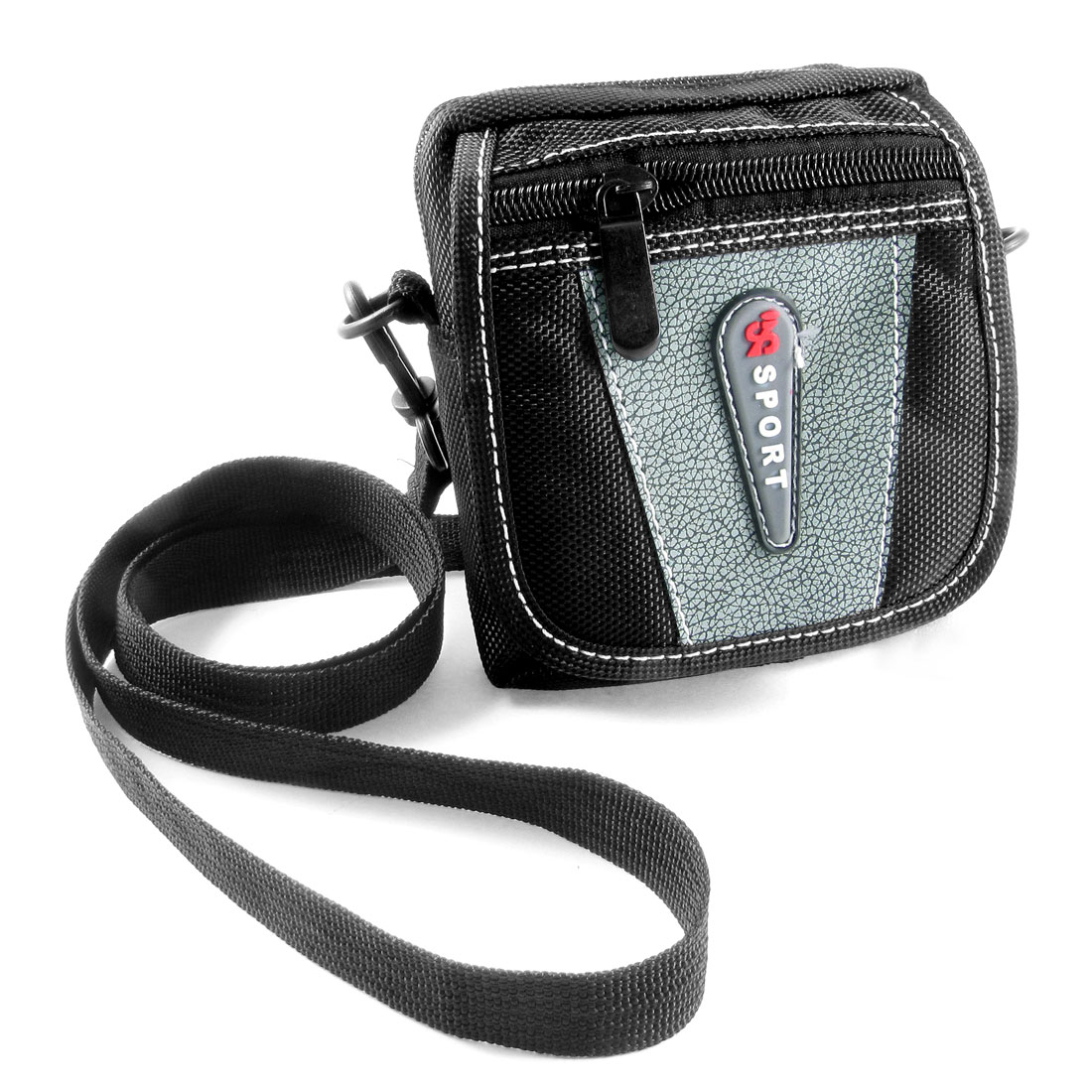 Man Black Gray Faux Leather Nylon 3 Pockets Adjustable Strap Waist Bag Pouch