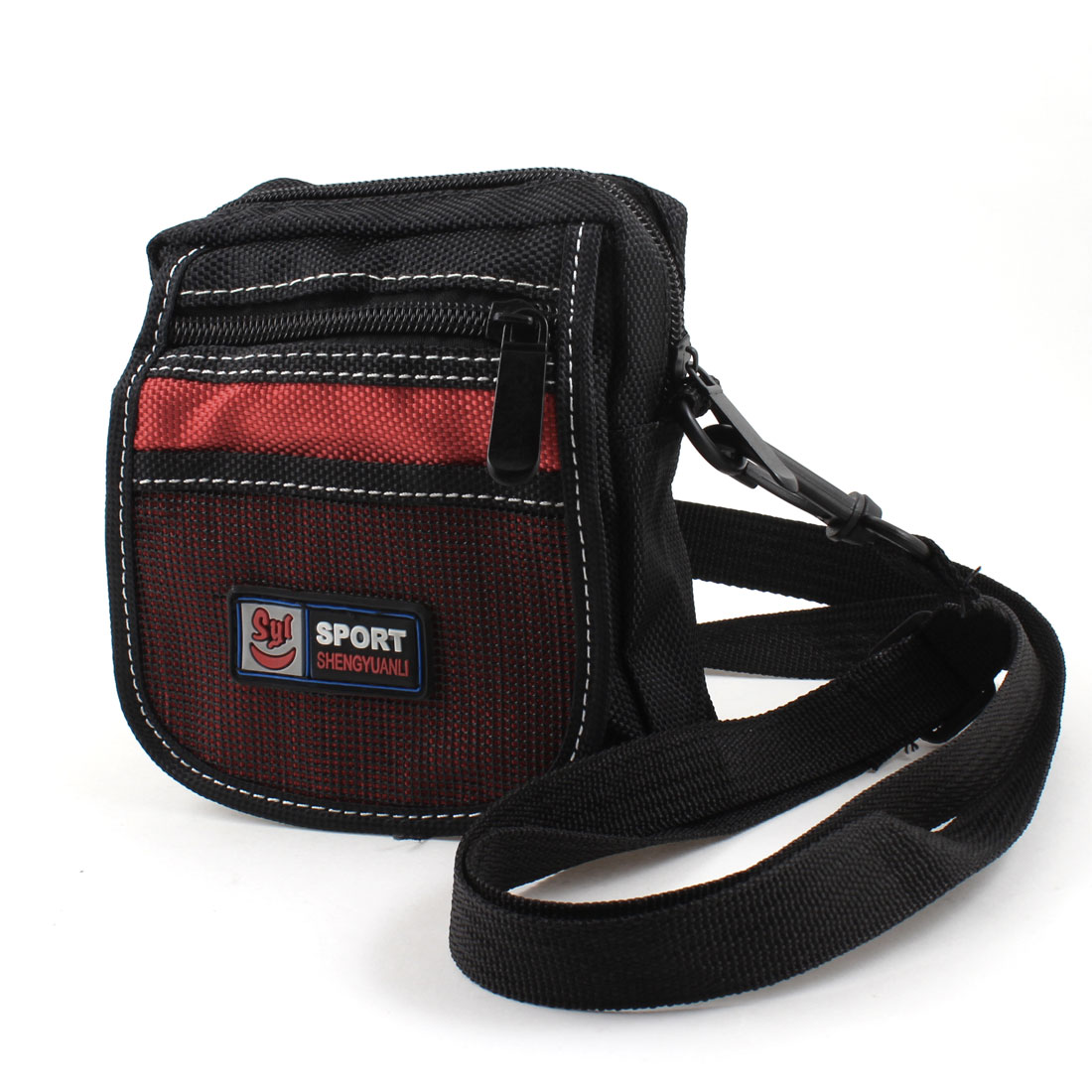 Man Black Red Nylon 3 Pockets Adjustable Strap Waist Bag Pouch