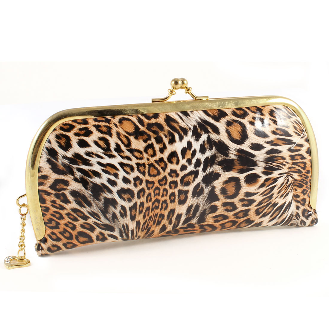 Woman Black Orange Leopard Prints Kisslock Clasp Portable Purse Wallet