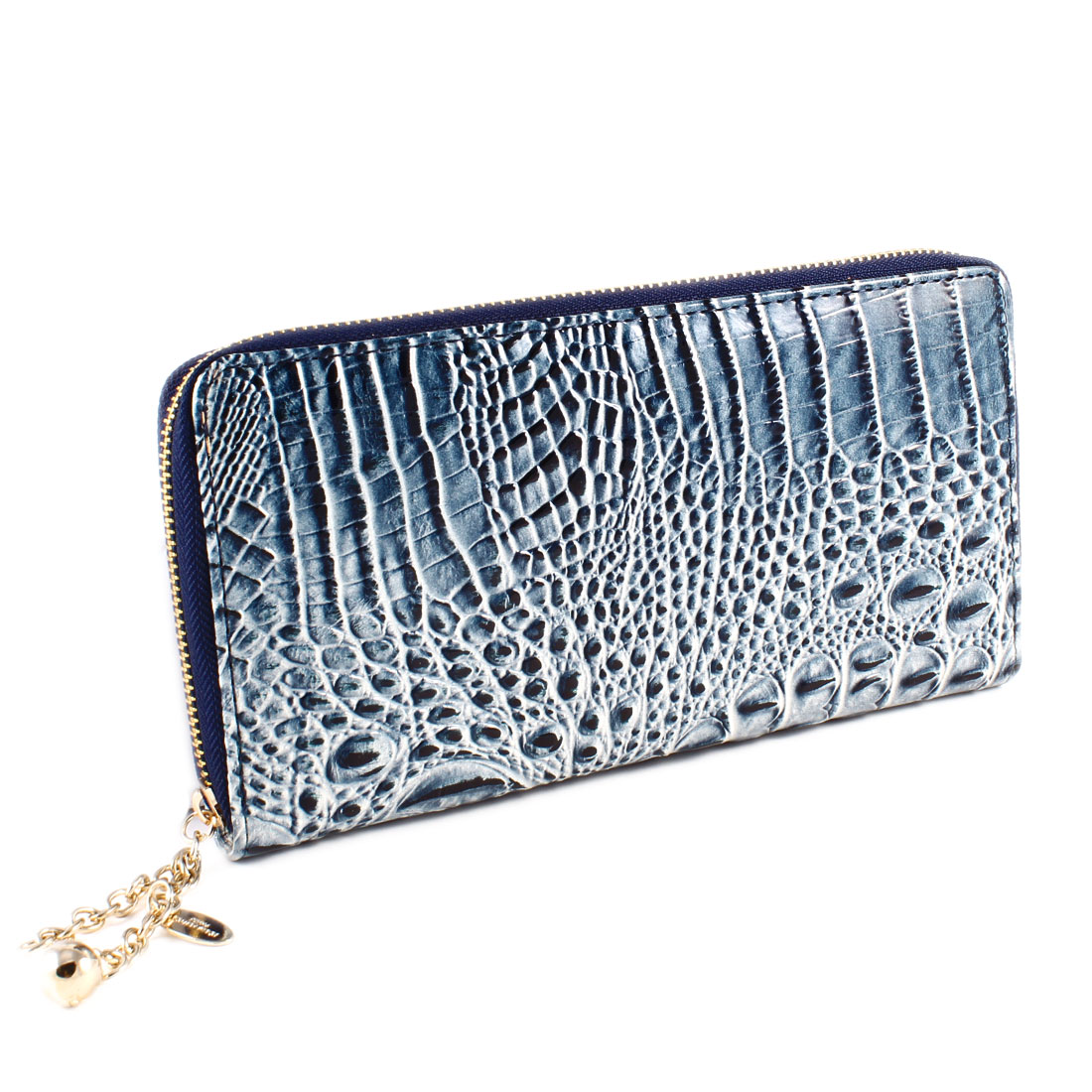 Blue Crocodile Prints Faux Leather Zipper Closure Purse Wallet