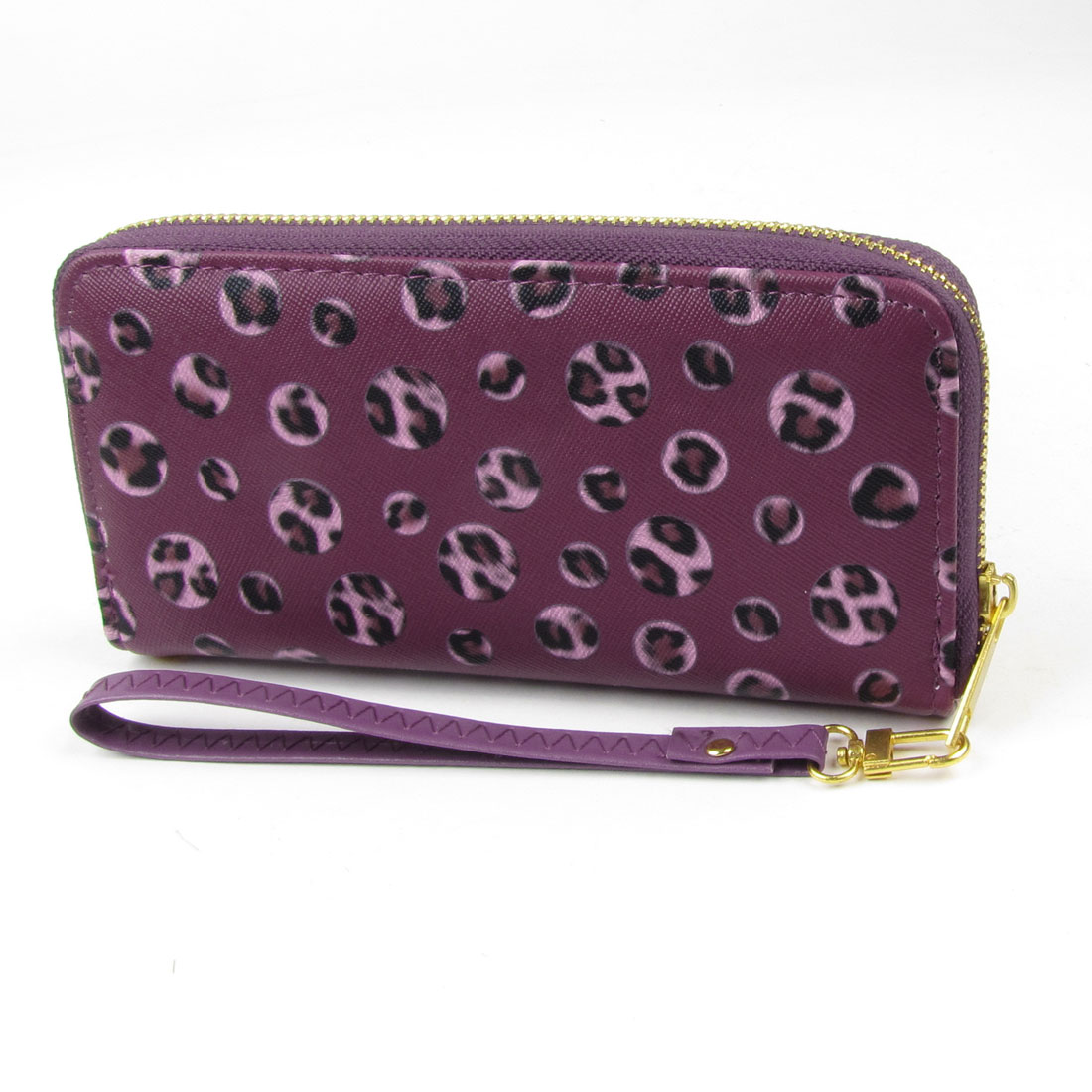 Women Detachable Handstrap Leopard Prints Zipper Closure Wallet Burgundy