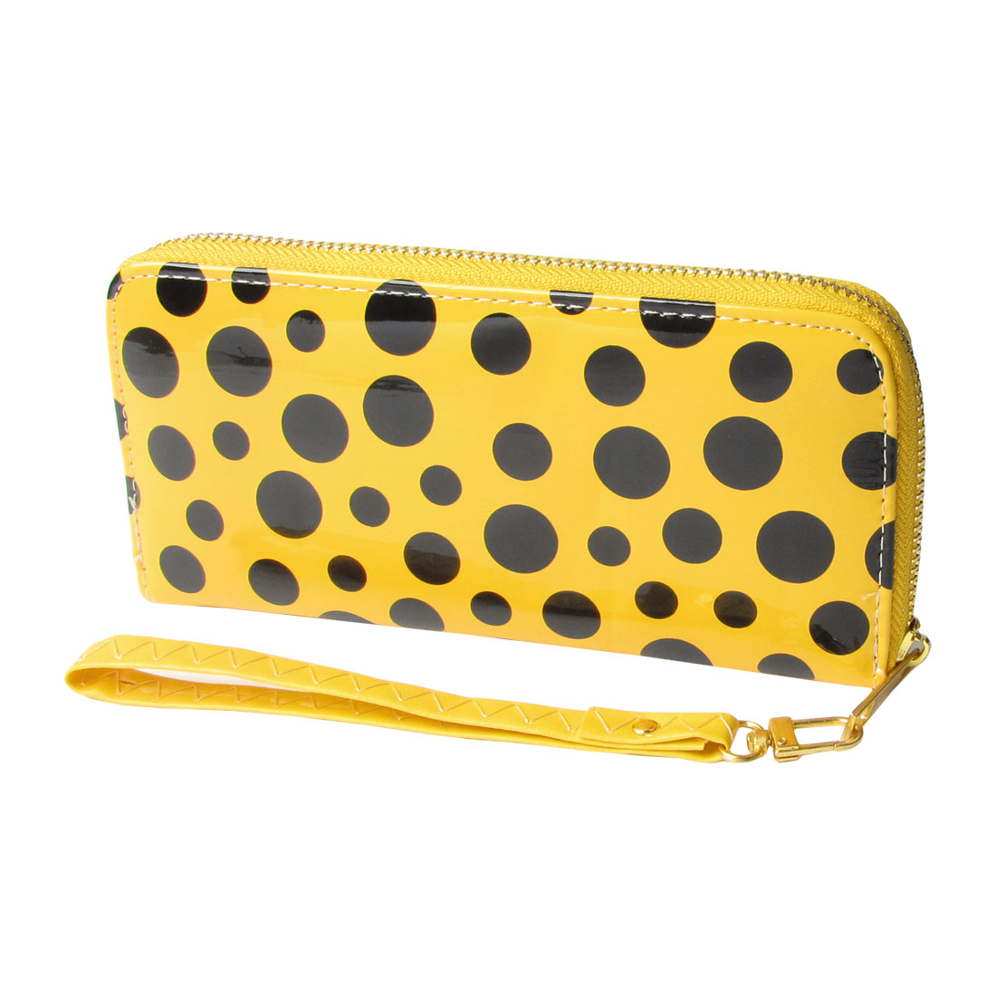 Black Dot Print Pattern PU Leather Zipper Closure Wallet Yellow for Lady